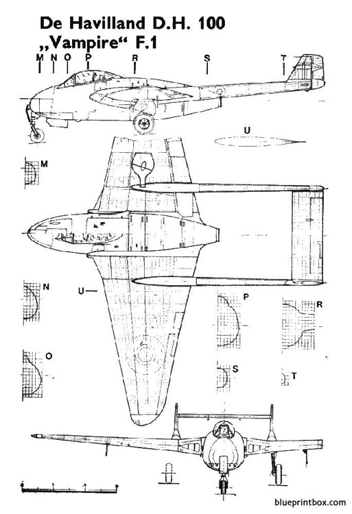 dh100 vampire model airplane plan