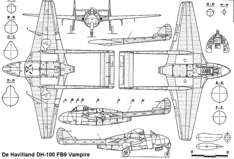 dh100 vampire 2 model airplane plan