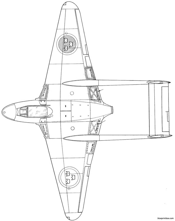 dh vampire j 28 5 model airplane plan
