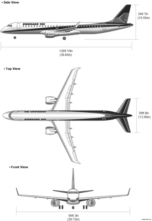 embraer 195 model airplane plan