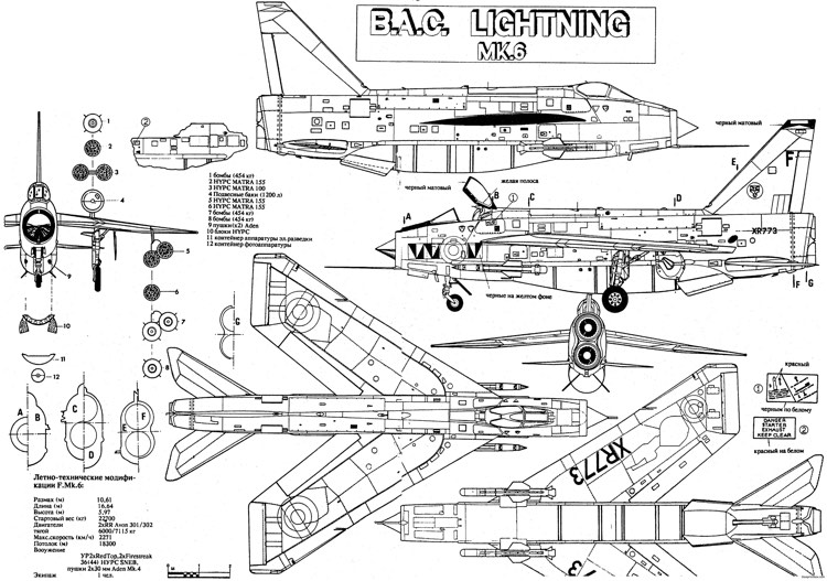 english electric lightning f6 model airplane plan