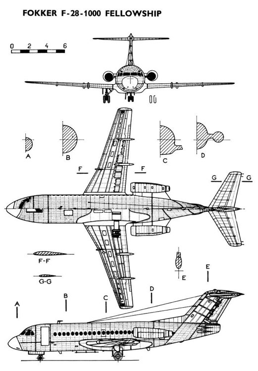 fokker28 3v model airplane plan