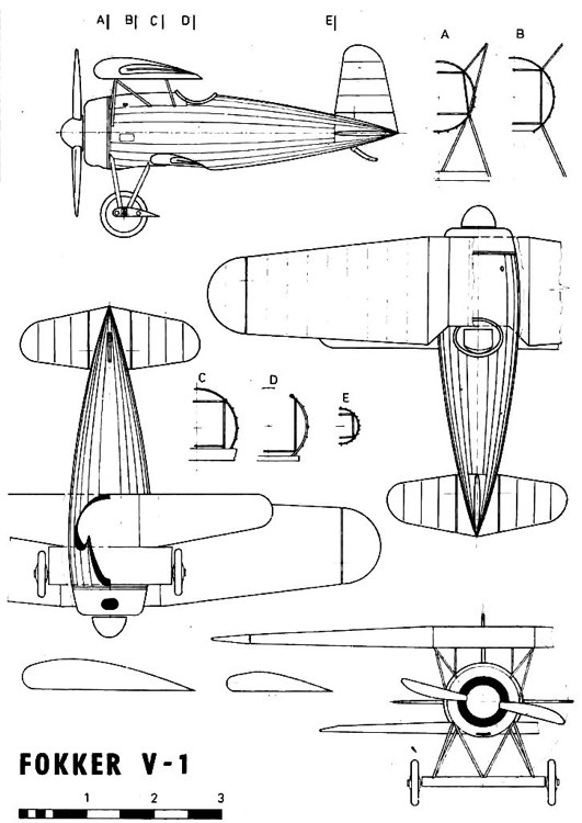 fokkerv1 model airplane plan