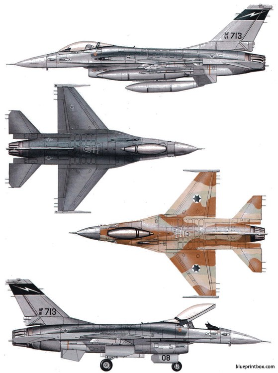 general dynamics f 16a b fighting falcon 4 model airplane plan