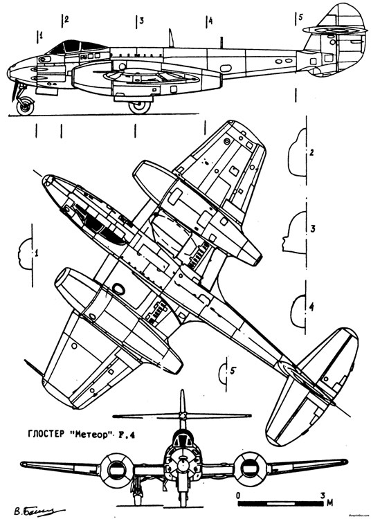 gloster meteor model airplane plan