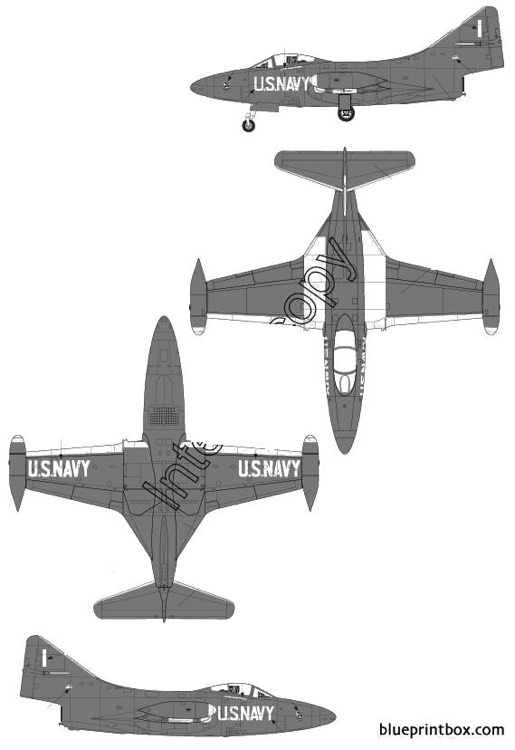 grumman f9f 5 panther model airplane plan