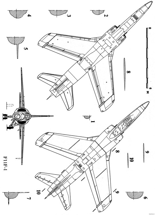 grumman f 11f tiger 2 2 model airplane plan