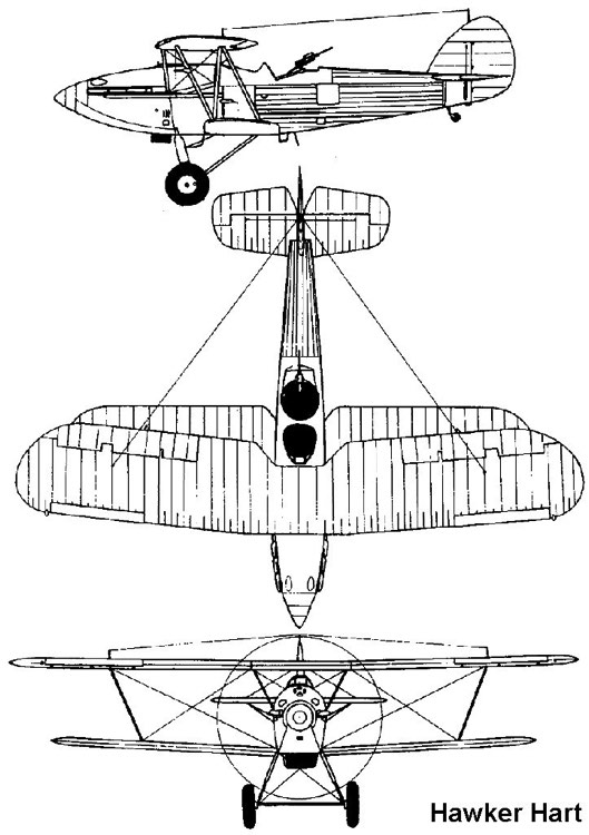 hawker hart 3v model airplane plan
