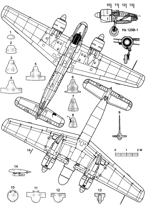 hs129b 2 3v model airplane plan