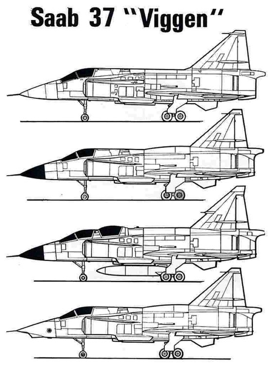 j37viggen 2 3v model airplane plan