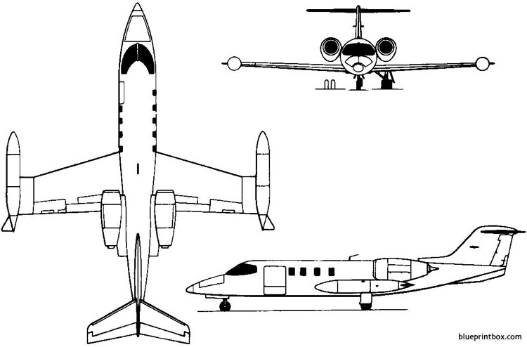 learjet 35 36 1973 usa model airplane plan