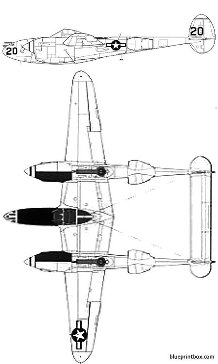 lockheed p 38l 5 lo lightning model airplane plan