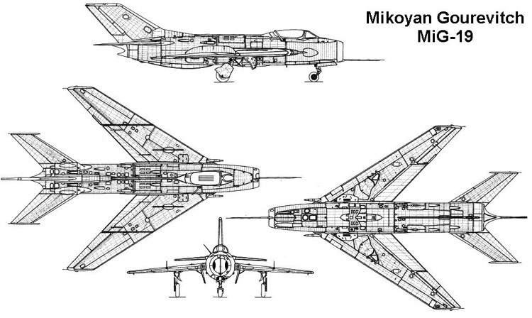 mig19 3v model airplane plan
