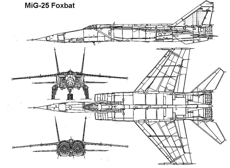 mig25 1 3v model airplane plan