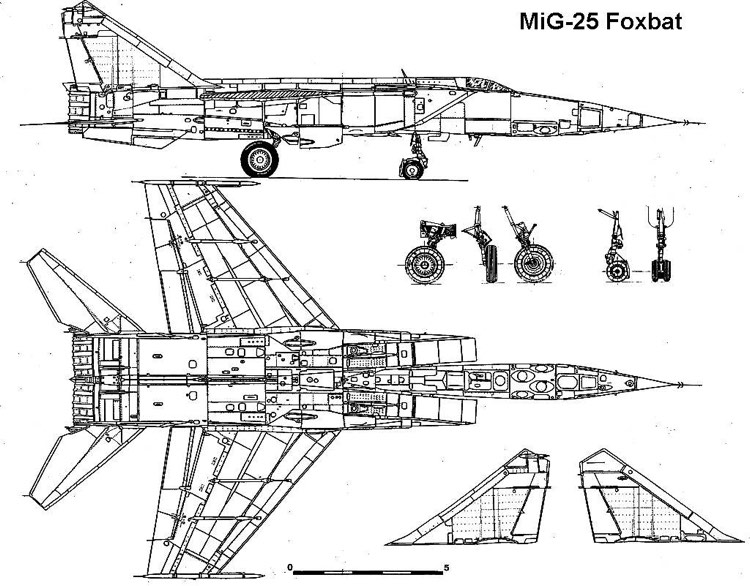 mig25 2 3v model airplane plan