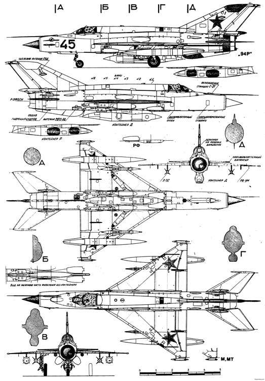 mikoyan gurevich mig 21mmt 2 model airplane plan