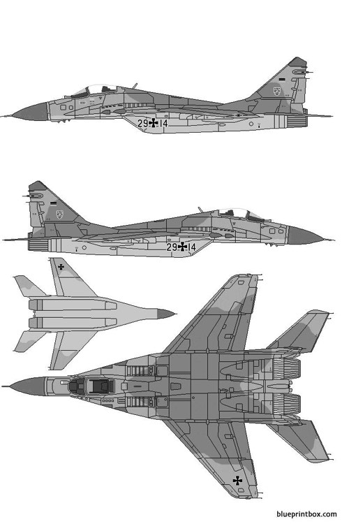 mikoyan gurevich mig 29a fulcrum a model airplane plan