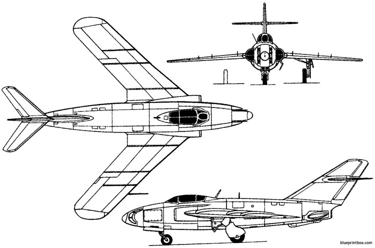 mikoyan gurevich sn 1953 russia model airplane plan