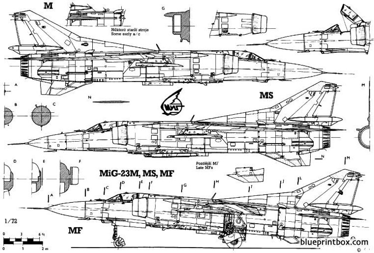 mikoyan mig 23mf model airplane plan