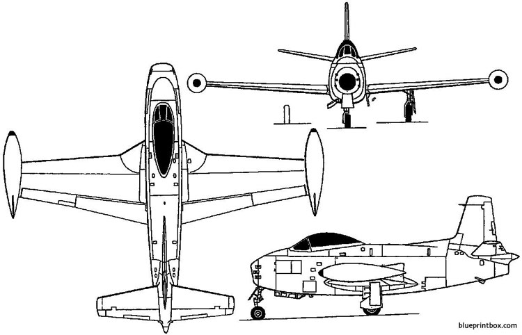 north american fj 1 fury 1946 usa model airplane plan