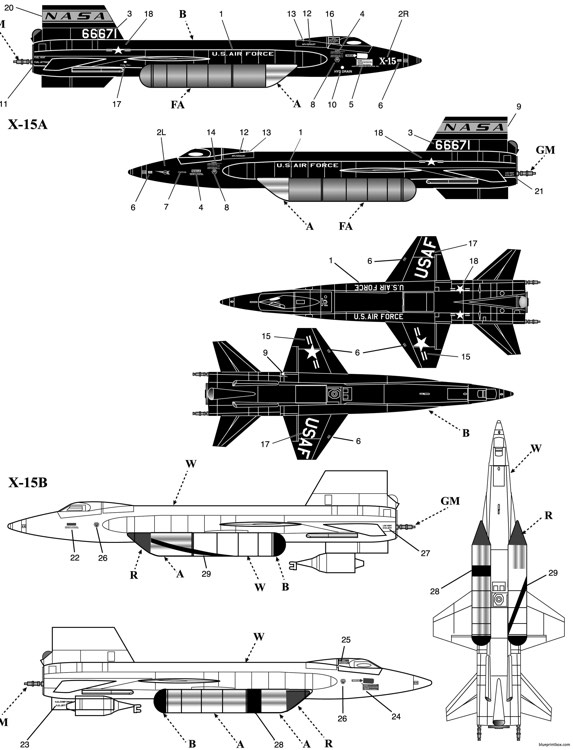 north american x 15 experimental aircraft model airplane plan