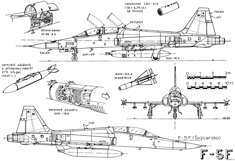 northrop f 5f tiger ii 3 plans - aerofred