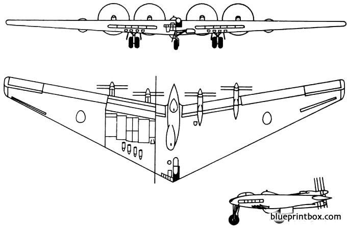 northrop xb 35 1946 usa model airplane plan