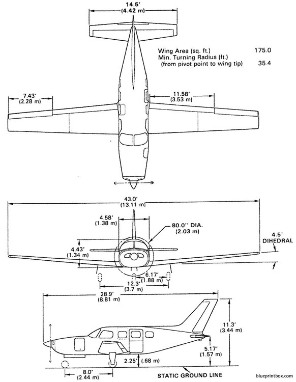 piper malibu 350 p mirage model airplane plan
