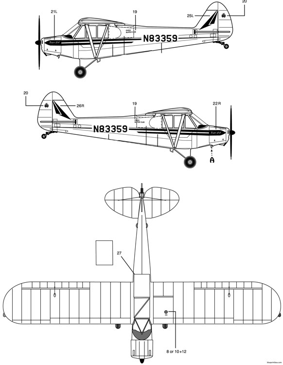 piper pa 18 super cub 1 model airplane plan