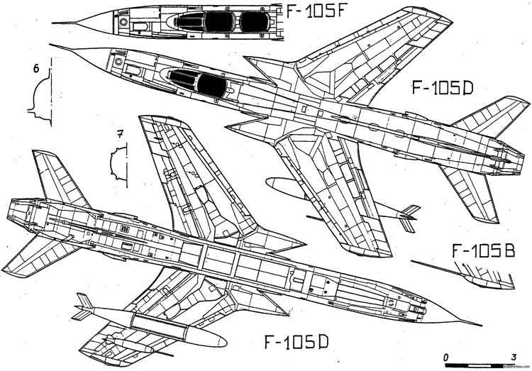 republic f 105 thunderchief 3 model airplane plan