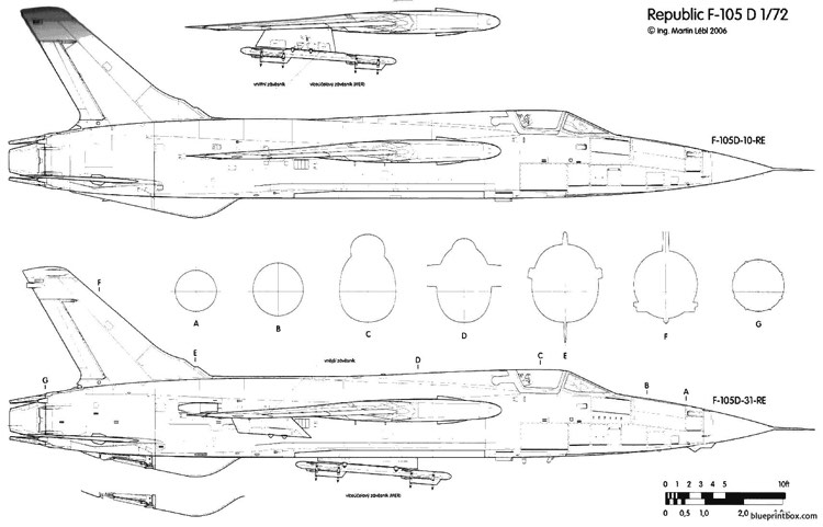 Republic f 105d thunderchief 3 plans aerofred download for 105 plan
