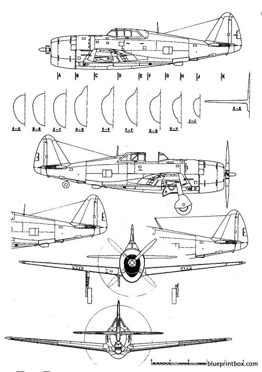 republic p 47c thunderbolt model airplane plan