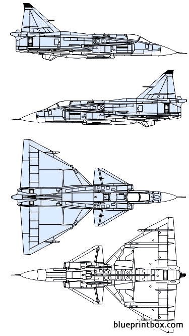 saab j37 viggen model airplane plan