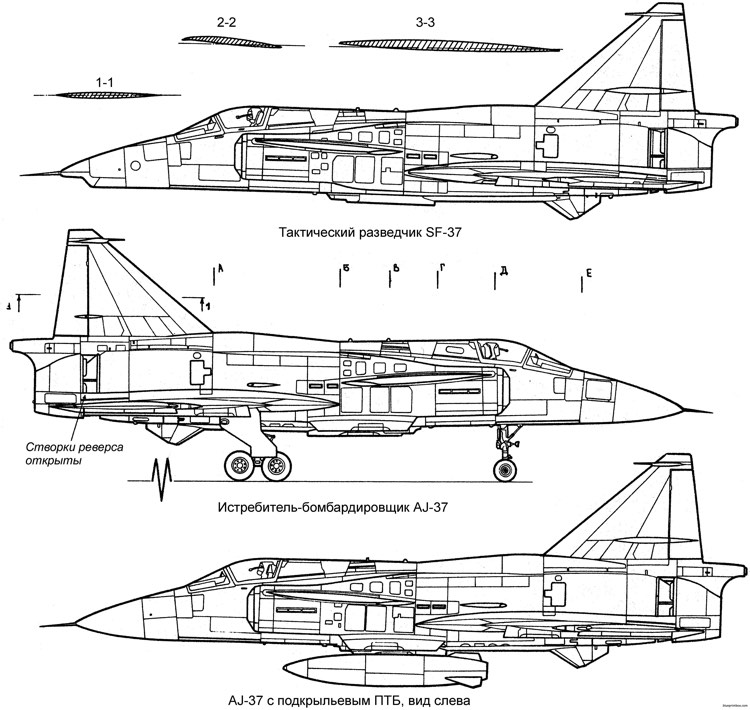 saab j37 viggen 2 2 model airplane plan