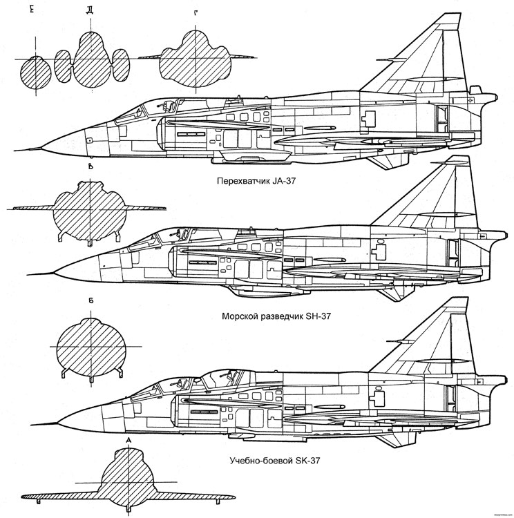saab j37 viggen 3 model airplane plan