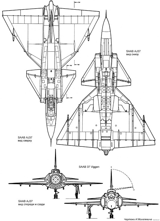 saab j37 viggen 4 model airplane plan