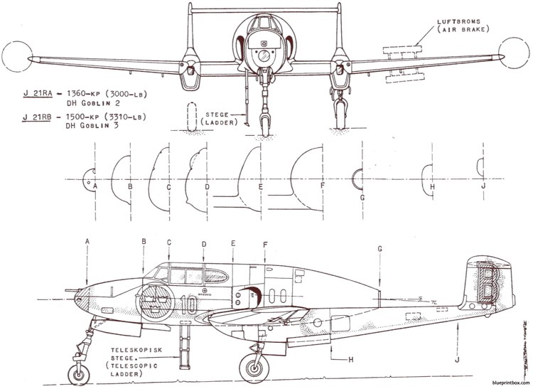 saab j 21r 3 model airplane plan