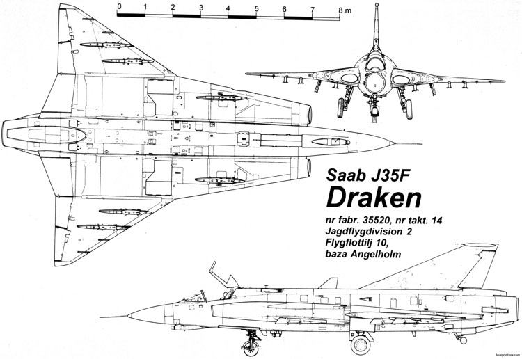 saab j 35 draken 3 model airplane plan