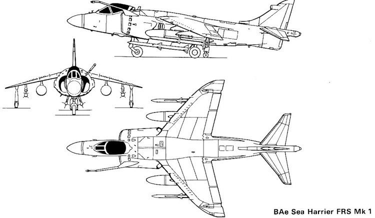 seaharrier frsmk1 3v model airplane plan