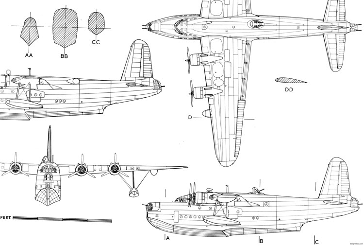 short sunderland mk v model airplane plan
