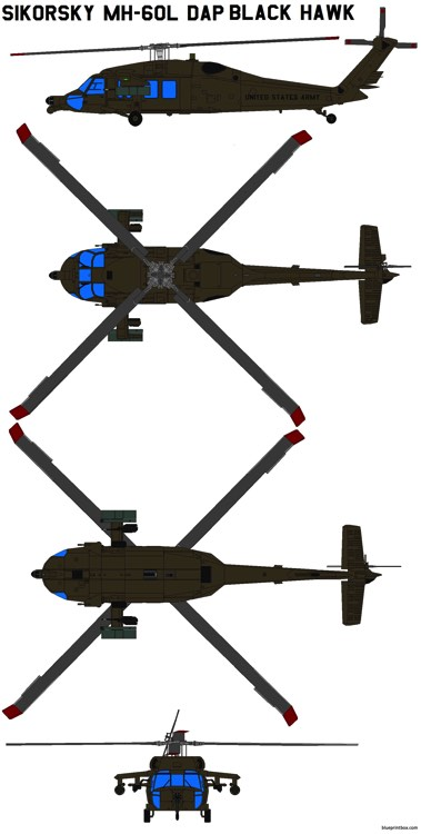 sikorsky mh 60l dap black hawk model airplane plan
