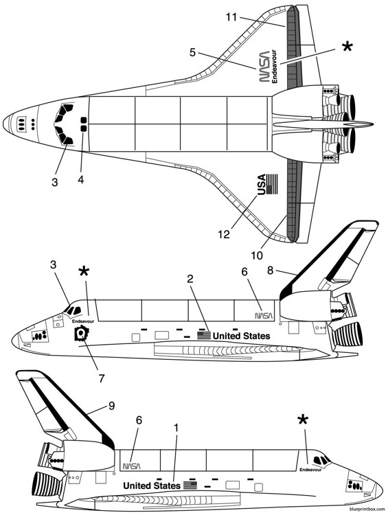 space shuttle model airplane plan