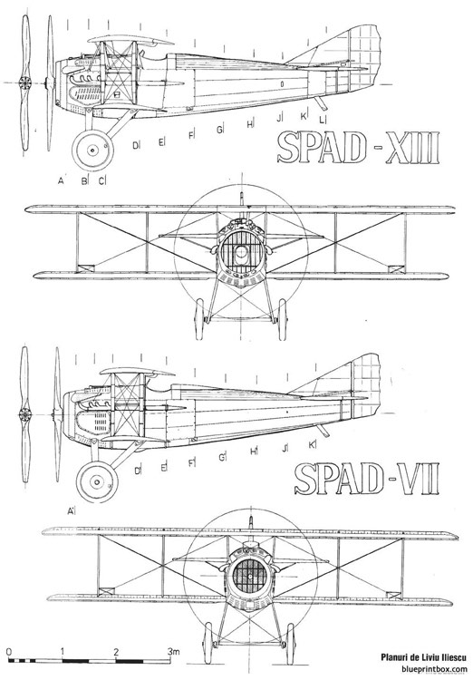 spad vii xiii model airplane plan