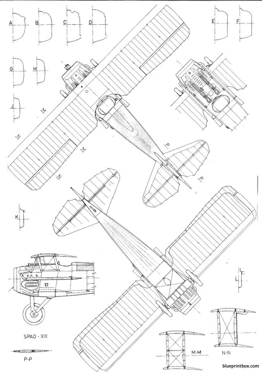 spad xiii model airplane plan