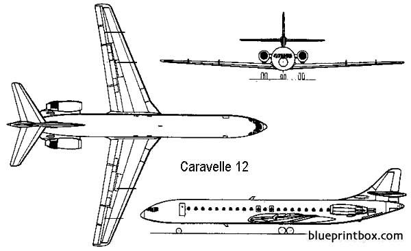 sud aviation se210 caravelle 12 model airplane plan