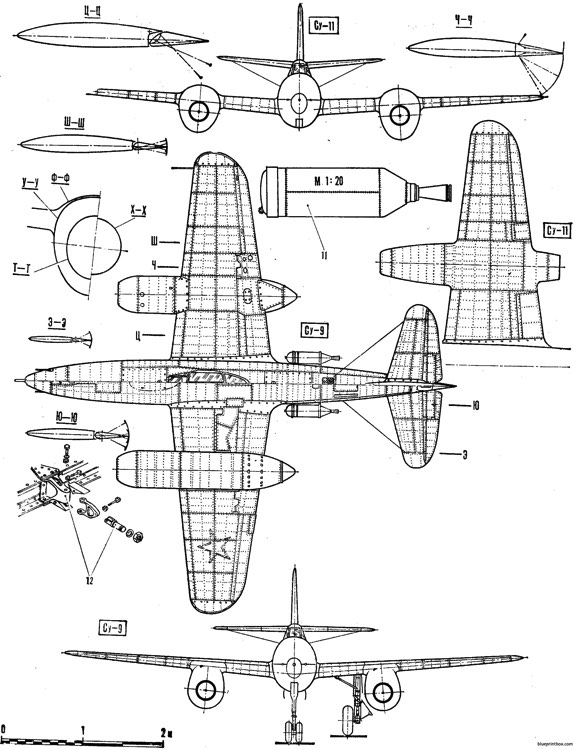 sukhojj su 9 pervyjj 2 model airplane plan