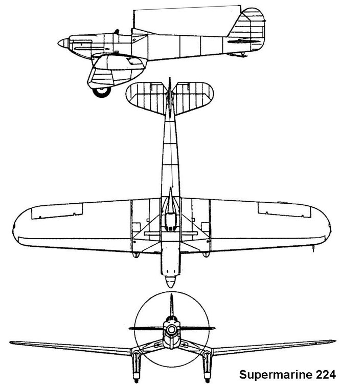supermarine224 3v model airplane plan
