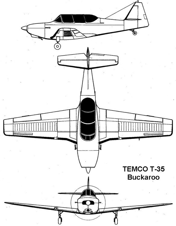 temco buckaroo 3v model airplane plan