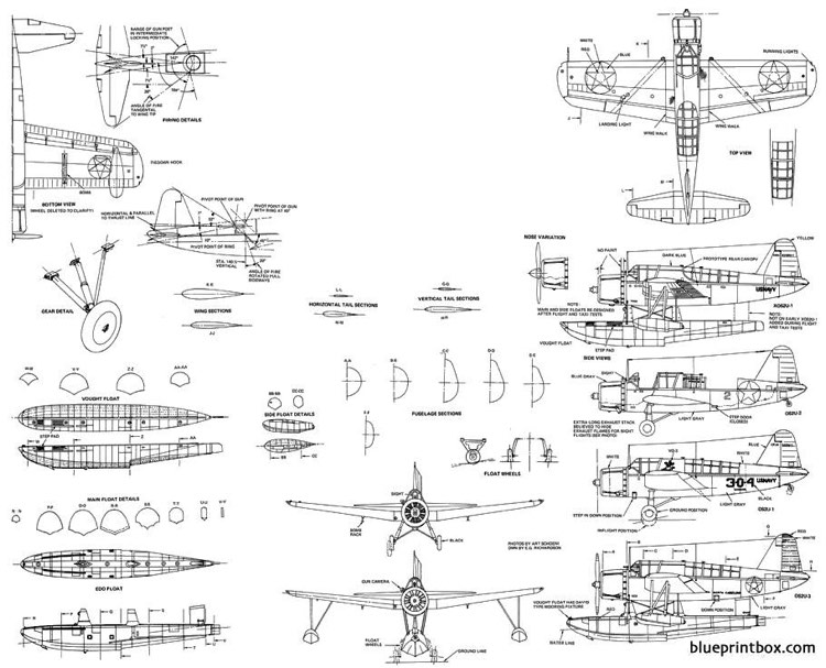 vought os2u 1 2 3 2 model airplane plan