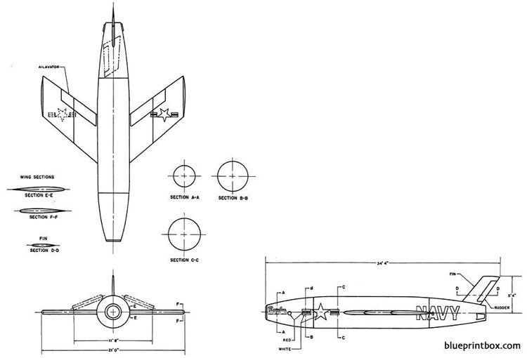 vought regulus i model airplane plan